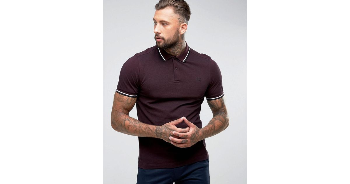 39b046043 Fred Perry Slim Fit Tipped Oxford Weave Polo In Burgundy in Red for Men -  Lyst