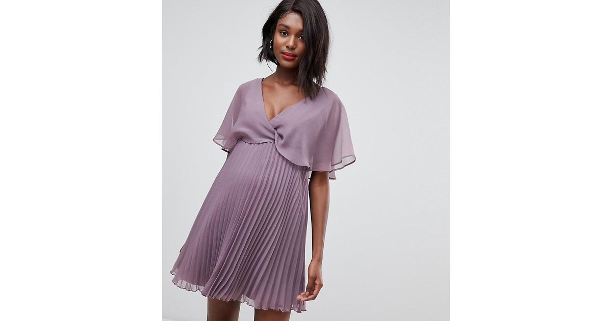 3f516533fbcaa ASOS Asos Design Maternity Flutter Sleeve Mini Dress With Pleat Skirt in  Pink - Lyst