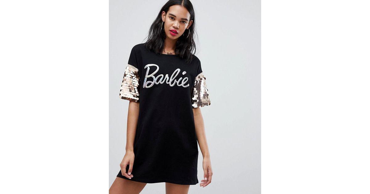 4dad79408b5 Missguided Barbie Glitter Logo Sequin Sleeve T-shirt Dress in Black - Lyst