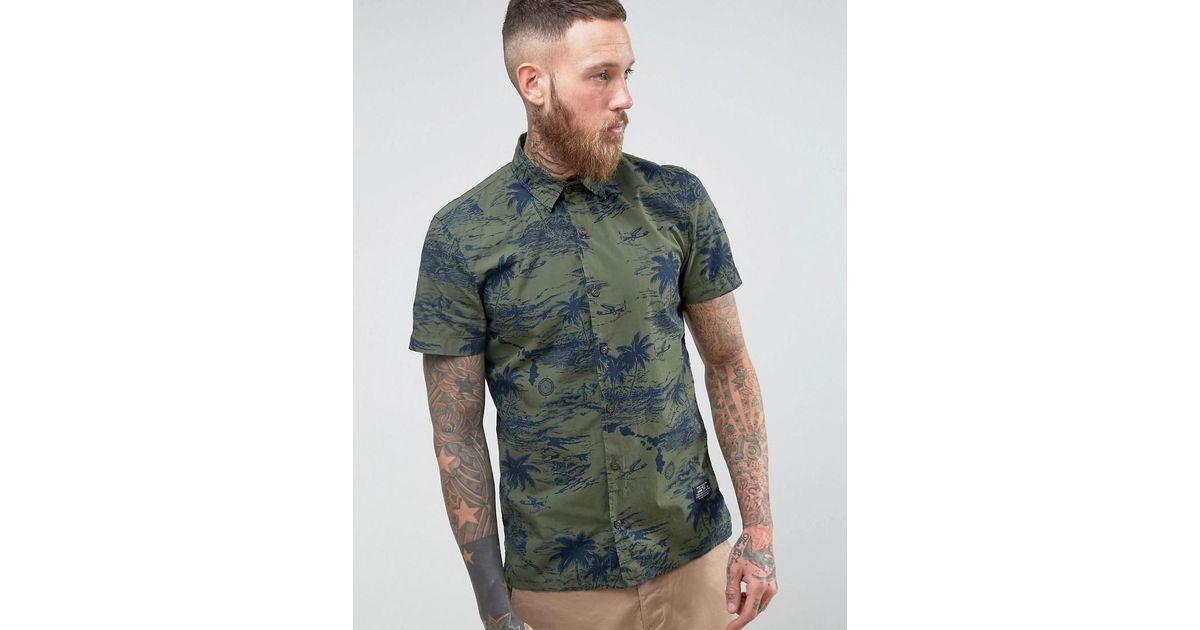 ec0d4b86e Schott Nyc Isla Military Hawaiian Shirt Short Sleeve In Green in Green for  Men - Lyst