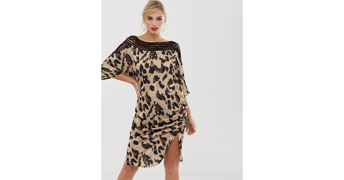 Lyst - Liquorish Shift Dress In Satin Leopard Print With Lace Cutout Detail  And Ruched Side cc7a052dc