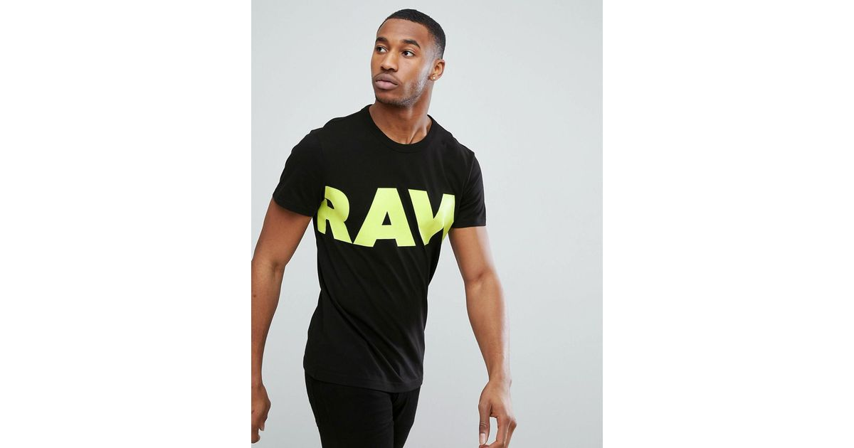 8f4e4f7c8a1 Star Men Lyst Vilsi Black Raw Logo G T Shirt For In Neon thQdrs