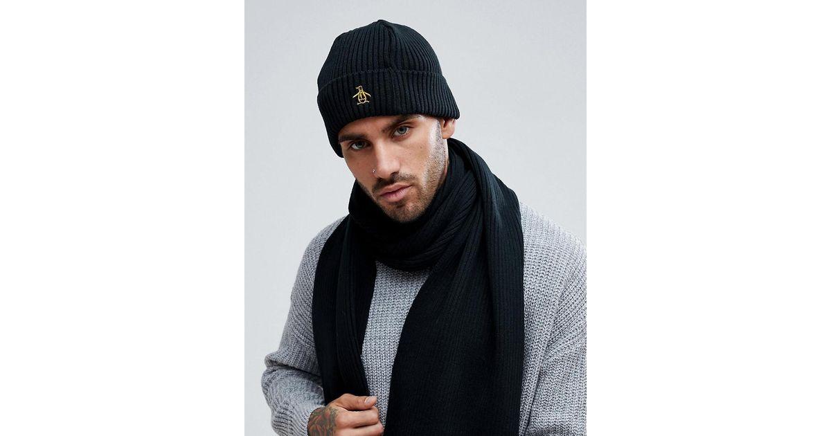 ee092e4cdf710 Original Penguin Rib Beanie Hat in Black for Men - Lyst