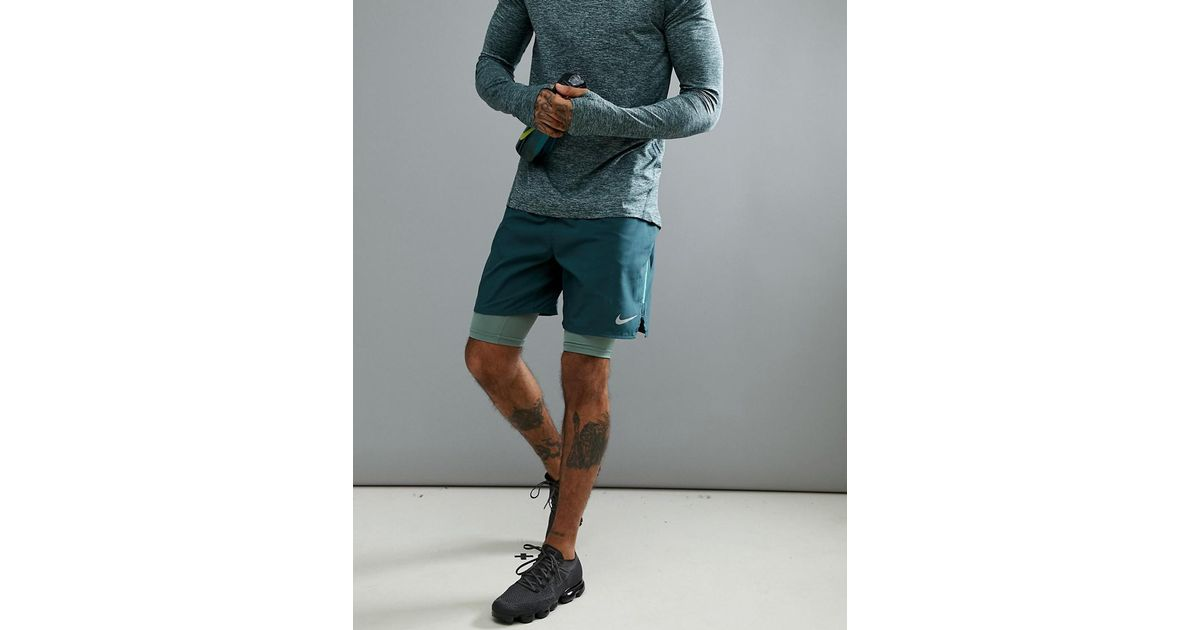 5fd15a52e0141 Nike Flex Distance 7 Inch 2-in-1 Shorts In Green 892905-328 in Green for Men  - Lyst