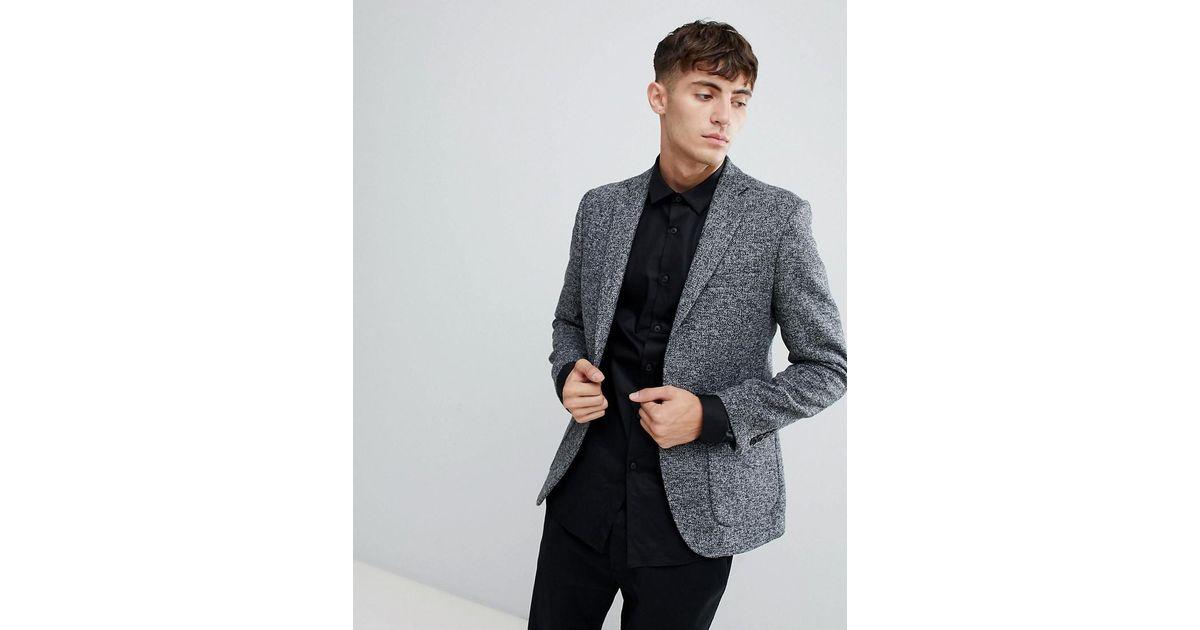 2ba52477b11478 Moss Bros Moss London Skinny Knitted Blazer In Salt & Pepper in Black for  Men - Lyst