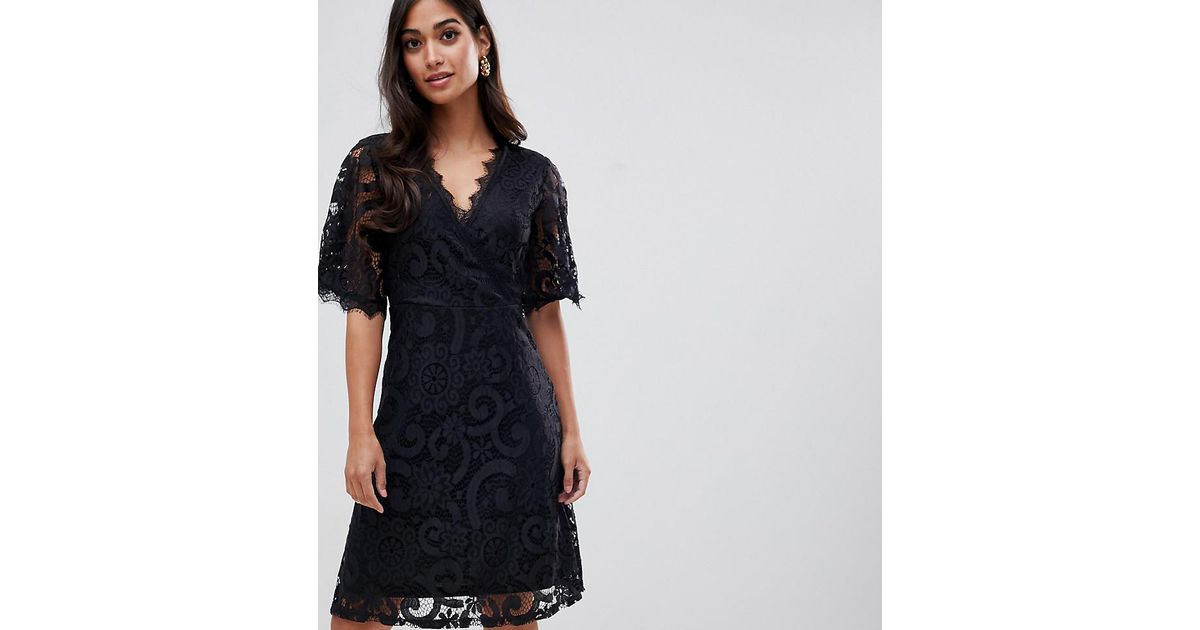 Lyst Yumi Lace Dress With Wrap Front And Kimono Sleeves In Black