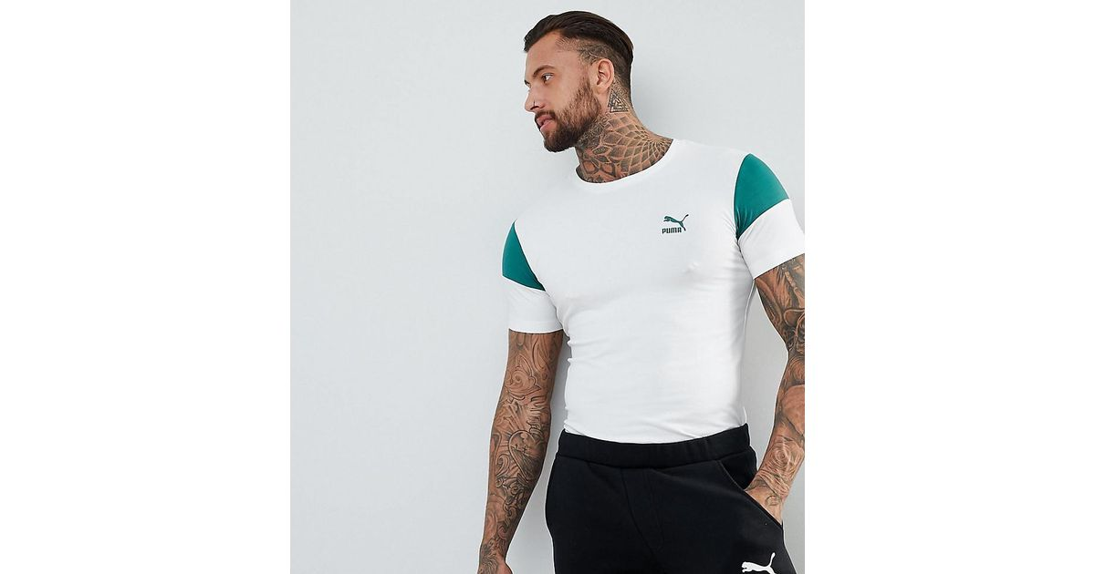 3b85f1c0f14b9d PUMA Panel T-shirt In Muscle Fit In White Exclusive To Asos in White for Men  - Lyst