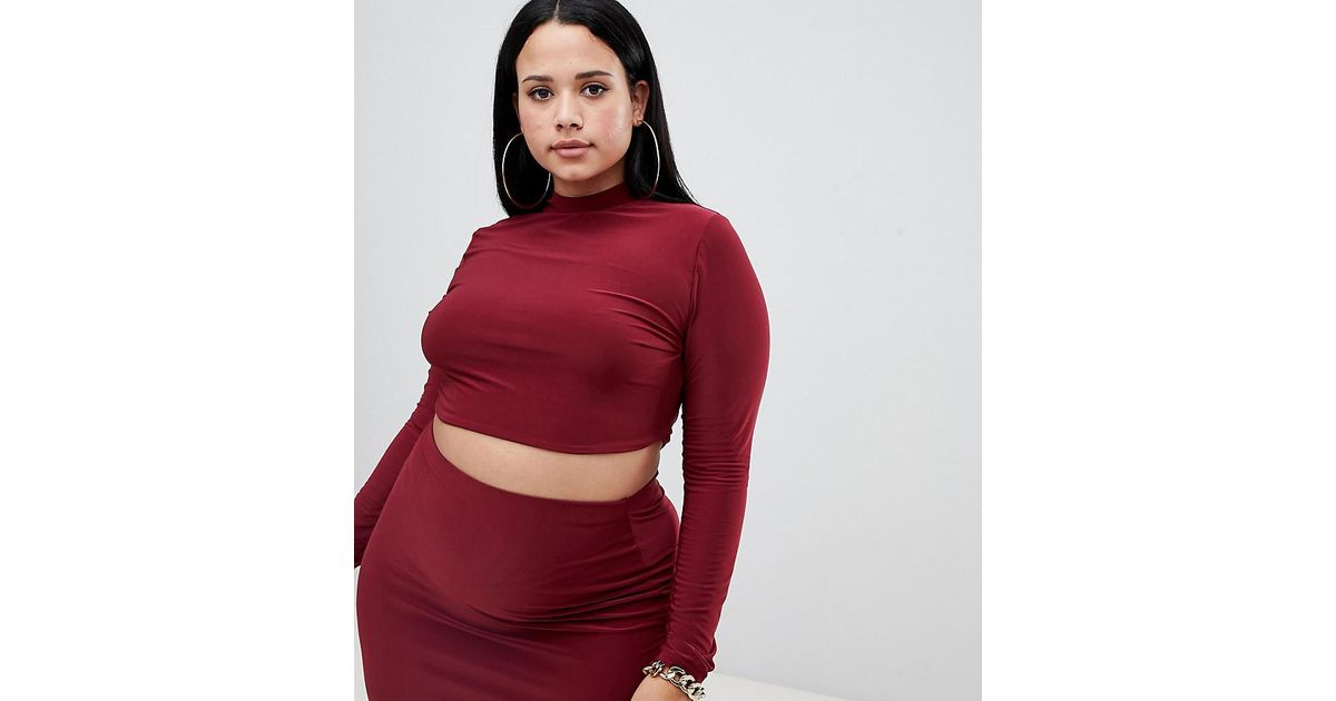 5c9c5d180bf95 Lyst - Fashionkilla Longline High Neck Crop Top Two-piece In Berry in Red