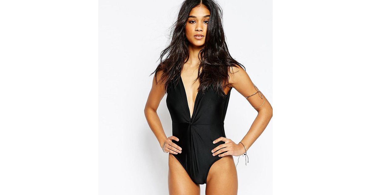 c7d6eb04cc3 Lyst - Wolf & Whistle Twist Macrame Trim Swimsuit B/c - E/f Cup in Black