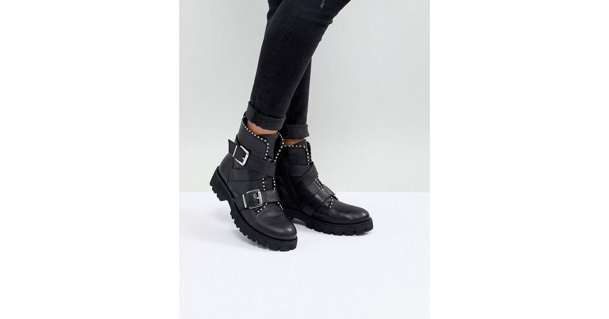 a49709a47b4 Lyst steve madden hoofy stud detail buckle boot in black jpeg 1200x630 Steve  madden black
