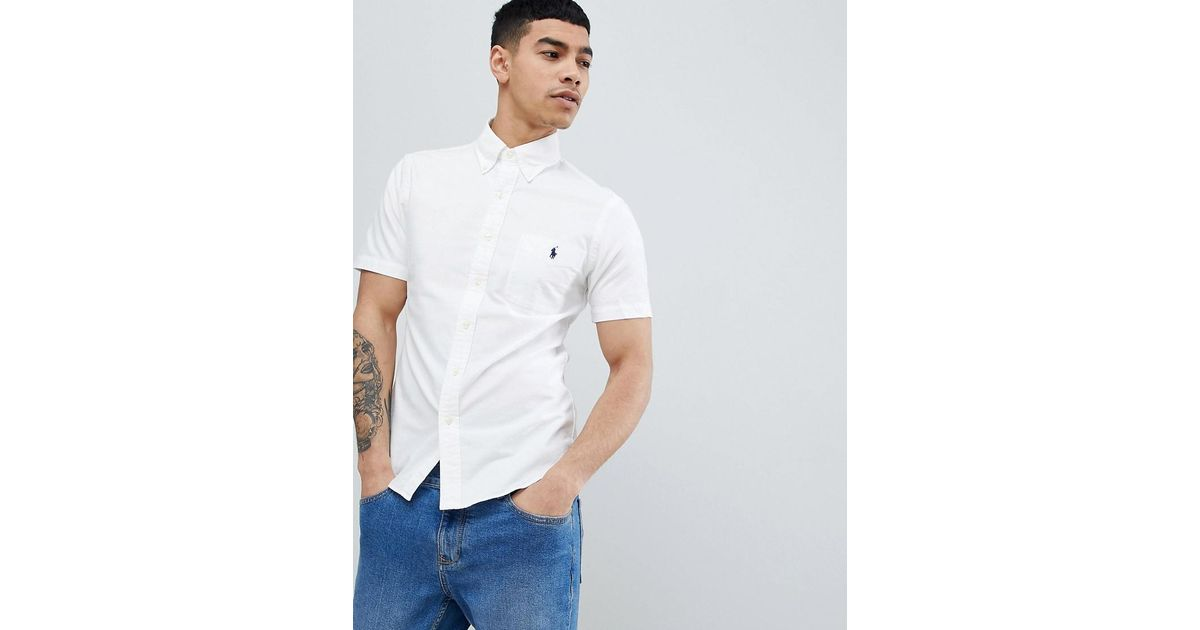28fbcf524d5a Polo Ralph Lauren Slim Fit Short Sleeve Oxford Shirt With Button Down  Collar In White in White for Men - Lyst