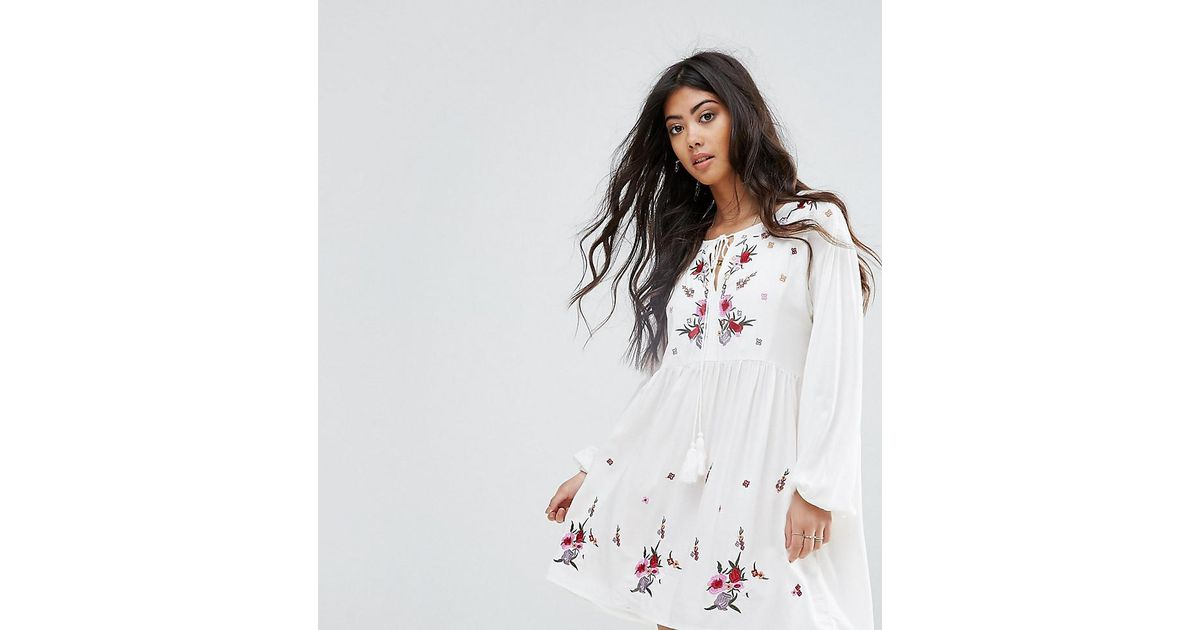 ac2cea0b83ff3 Lyst - Boohoo Embroidered Smock Dress in White
