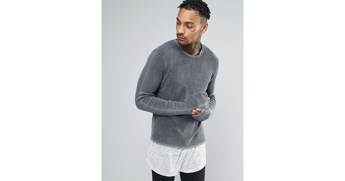 Lyst - Asos Cropped Textured Jumper With Extra Long Sleeves In Acid Wash in  Gray for Men