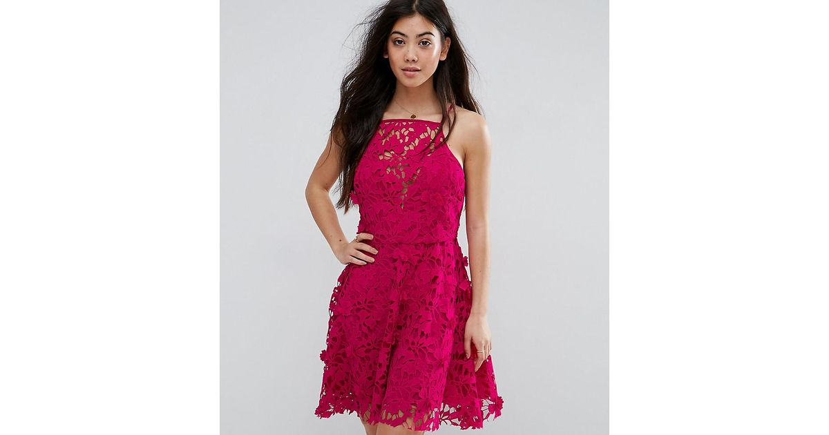 759d4661ab Lyst - New Look Petite Premium Lace Trim Skater Dress in Pink