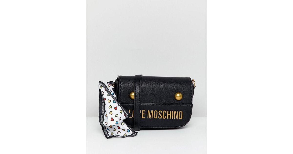 b691f459399a Lyst - Love Moschino Stud Logo Shoulder Bag in Black