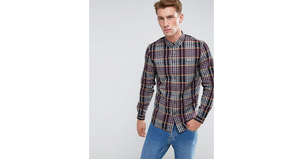 b2e7e5394 Lyst - Fred Perry Twill Check Shirt In Navy in Blue for Men