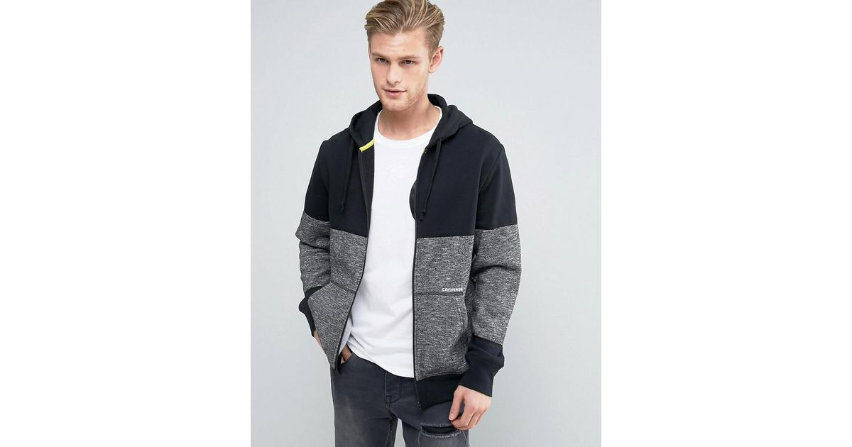 14d432264656 Converse Zip-up Hoodie In Block Print In Grey 10003605-a01 in Gray for Men  - Lyst