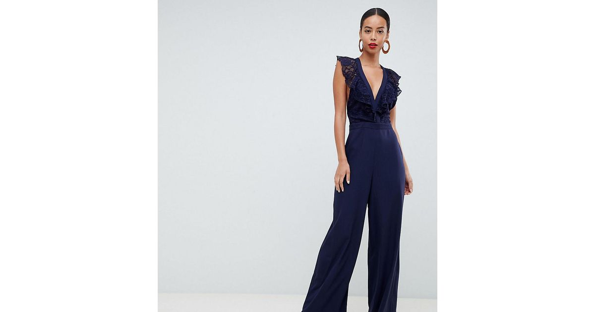 5907dff1ca2f ASOS Wrap Lace Jumpsuit With Wide Leg in Blue - Lyst