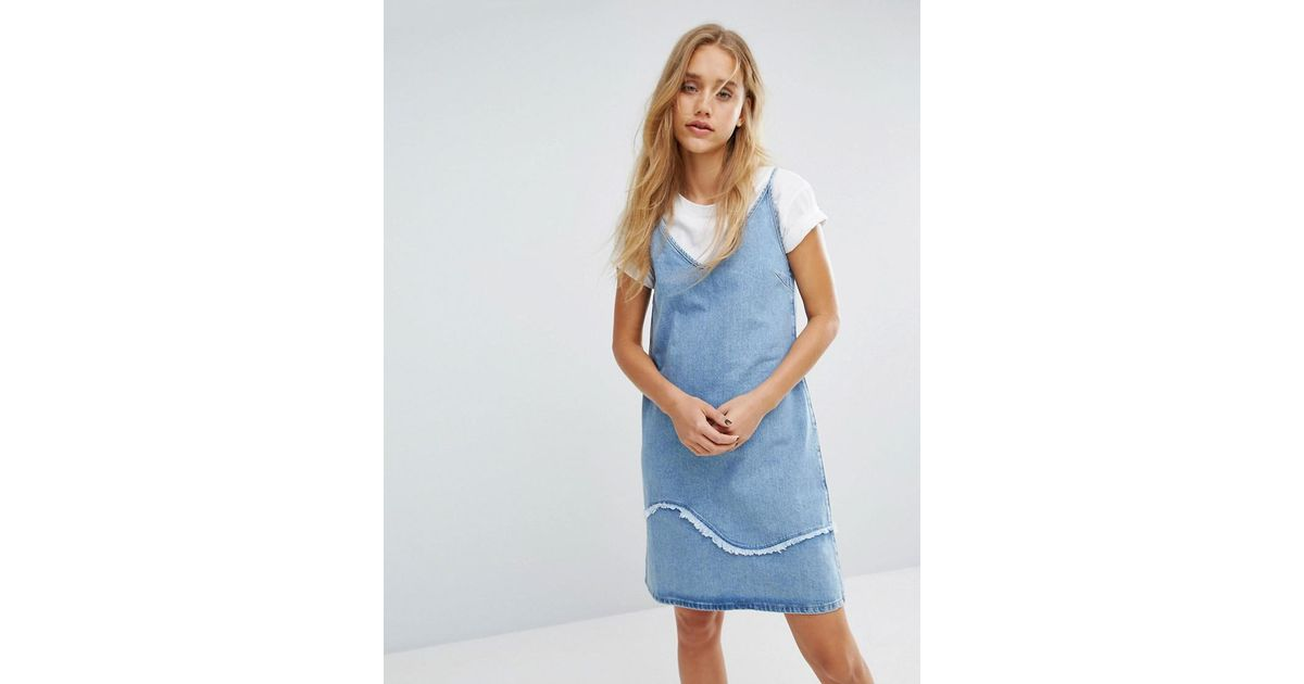 49aaafe24e M.i.h Jeans M.i.h Jeans Strappy Denim Dress With Fray Detail in Blue - Lyst