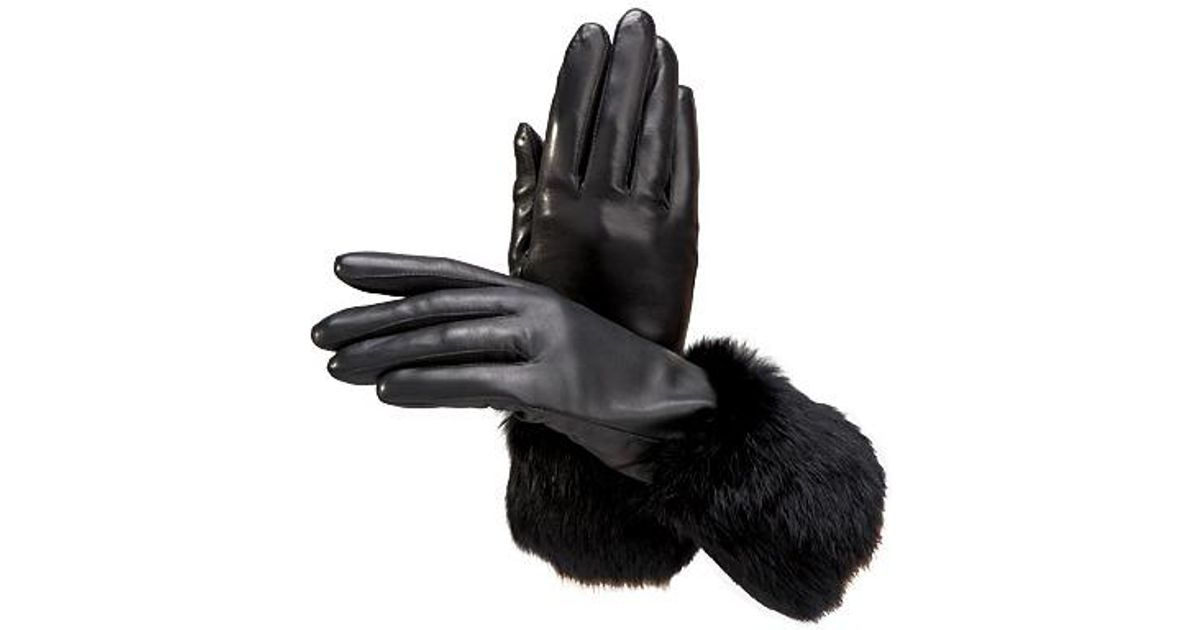 7c49362387618 Lyst - Aspinal Ladies Fur Cuffed Leather Gloves in Black