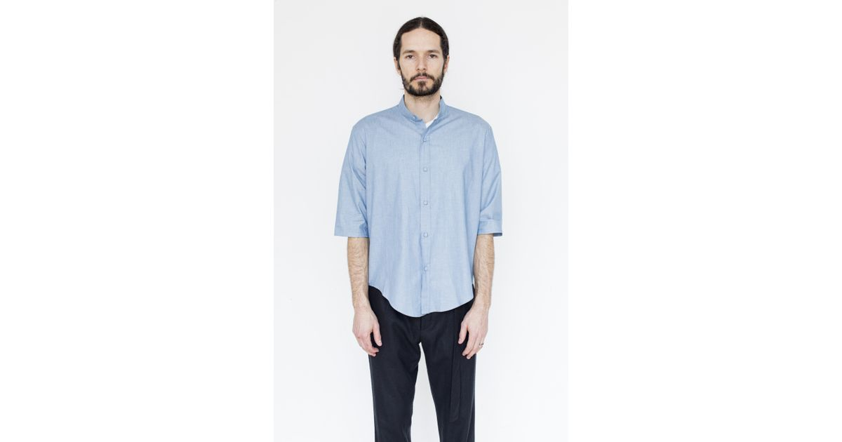 assembly chambray noncollar shirt in blue for lyst