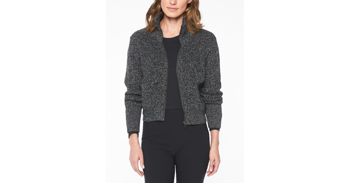 69b3ea3717b8e Lyst - Athleta Swissvale Bomber Sweater in Black