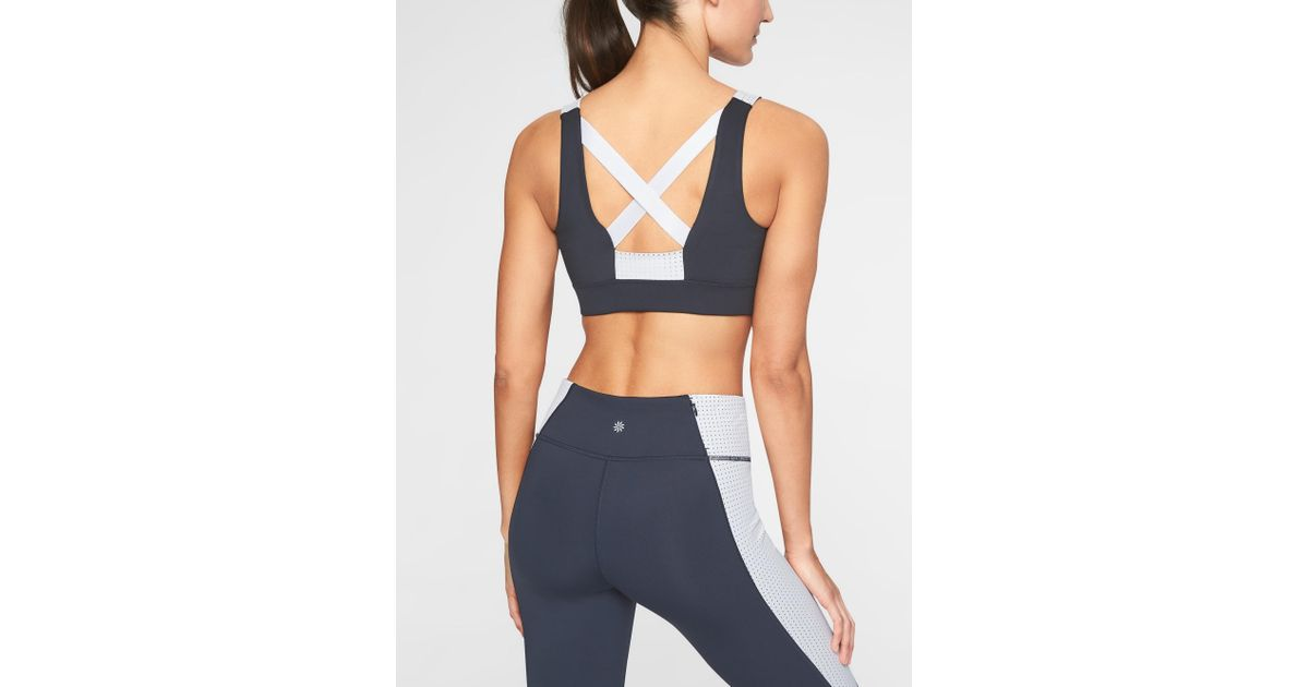 d0b41c6ec943a Lyst - Athleta Perforated Power Of She Bra in Blue