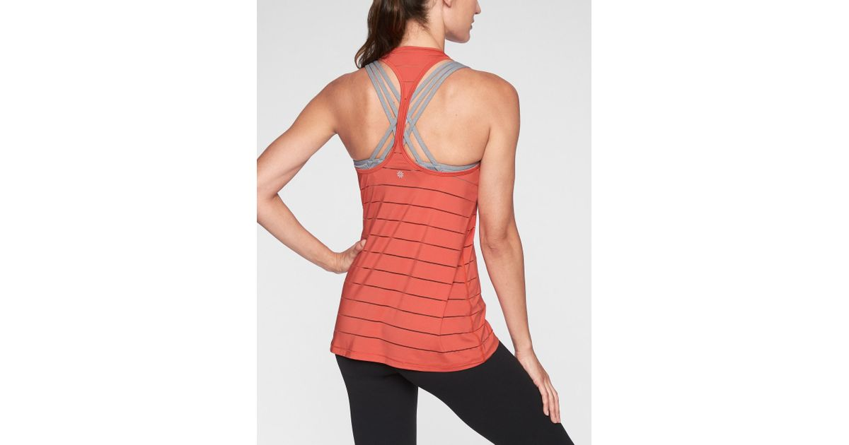 2958d46ce588bc Lyst - Athleta Stripe Mesh High Neck Chi Tank in Red