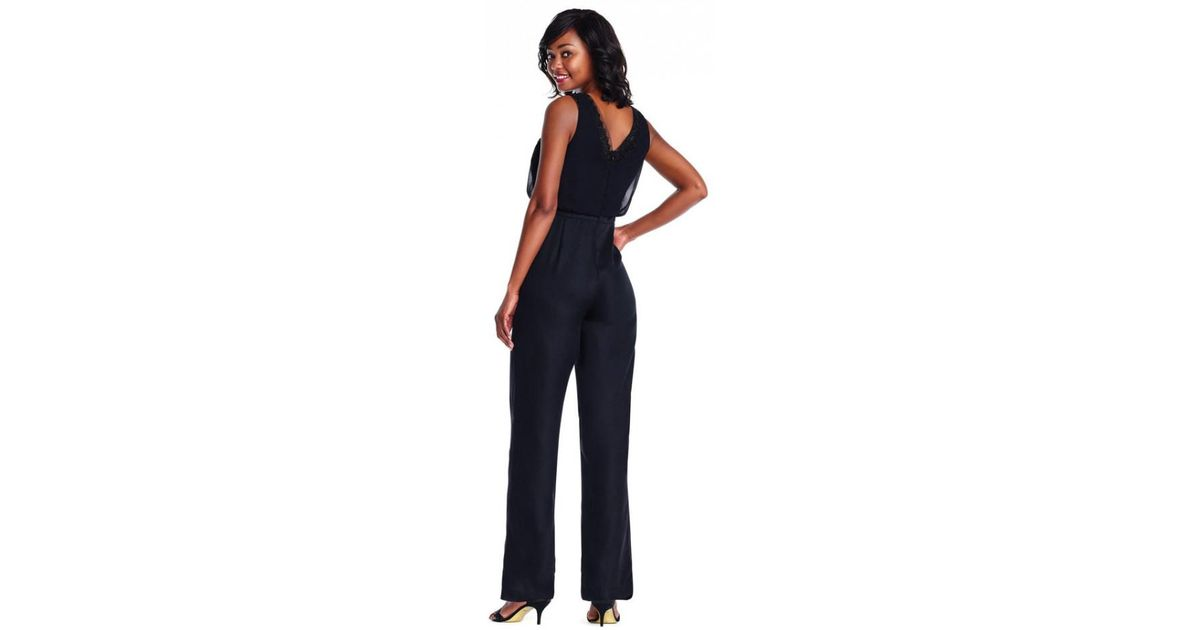 9c7823e632ed Adrianna Papell Adriannapapell Beaded Georgette Wide Leg Jumpsuit in Black  - Lyst