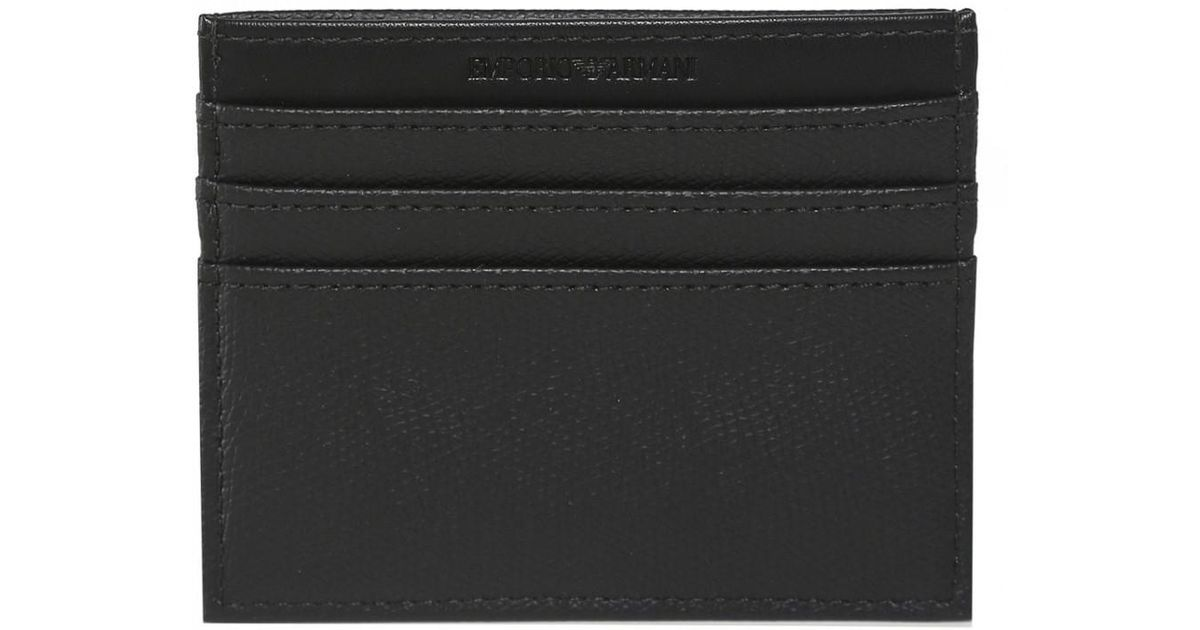f1400b0cd25 Armani Armani Logo Tumbled Card Holder in Black for Men - Lyst