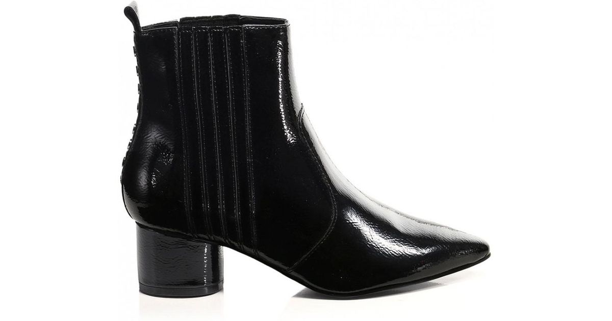 fd73fa0da1e Kendall + Kylie - Black Kendall And Kylie Patent Leather Studded Ankle  Boots - Lyst