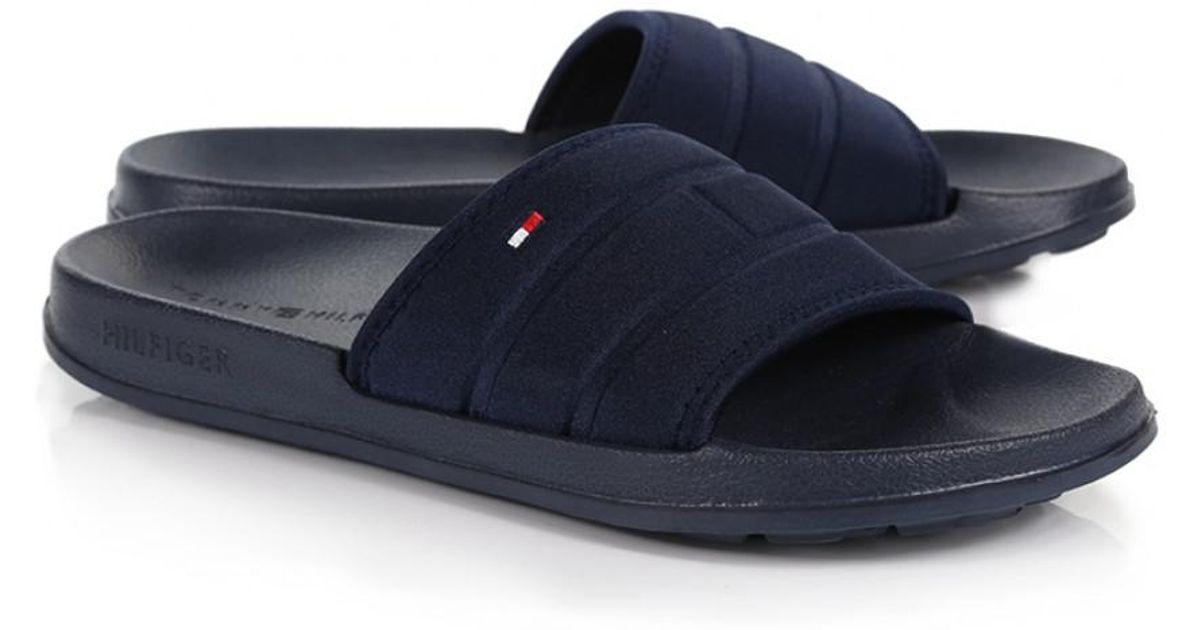 78a58a1280088 Lyst - Tommy Hilfiger Men s Corporate Flag Pool Slide Flip Flops in Blue  for Men