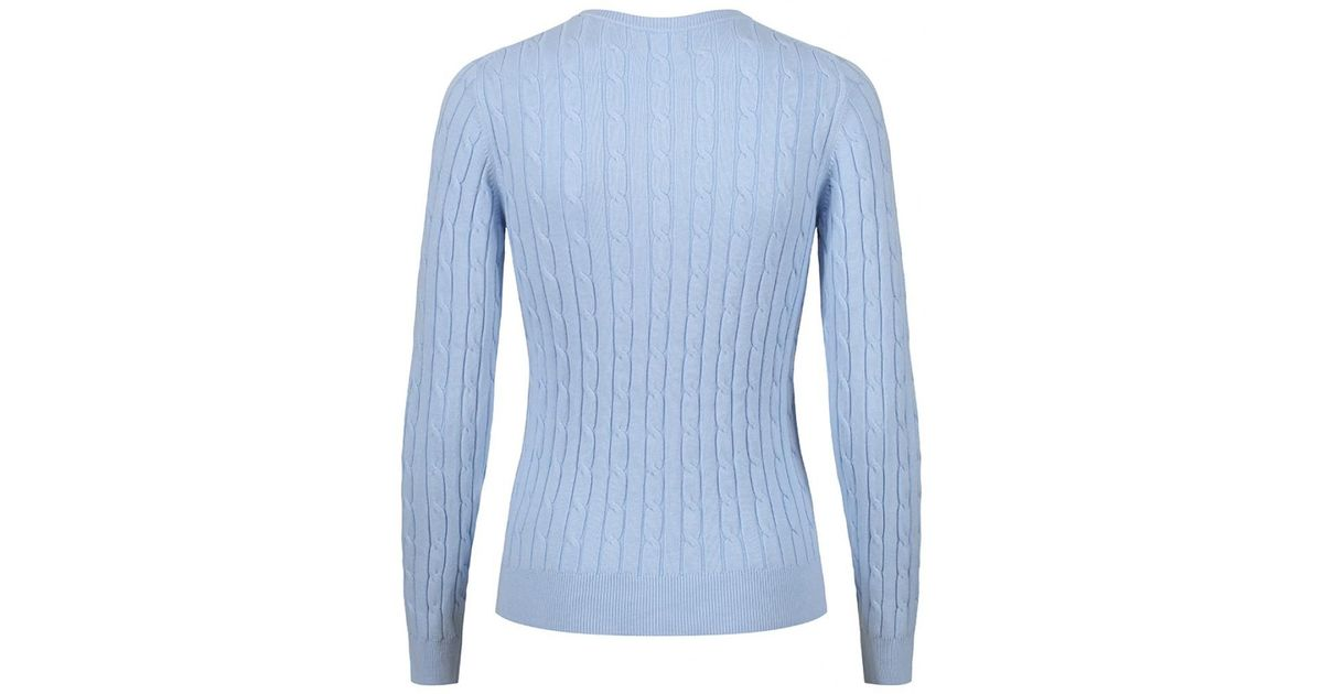 fd027aabe34752 GANT Women's Stretch Cotton Cable Crew Neck Jumper in Blue - Lyst