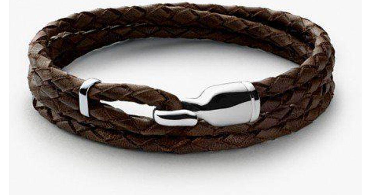 Miansai Trice Brown Leather Bracelet w/ Sleeve Sw5pW
