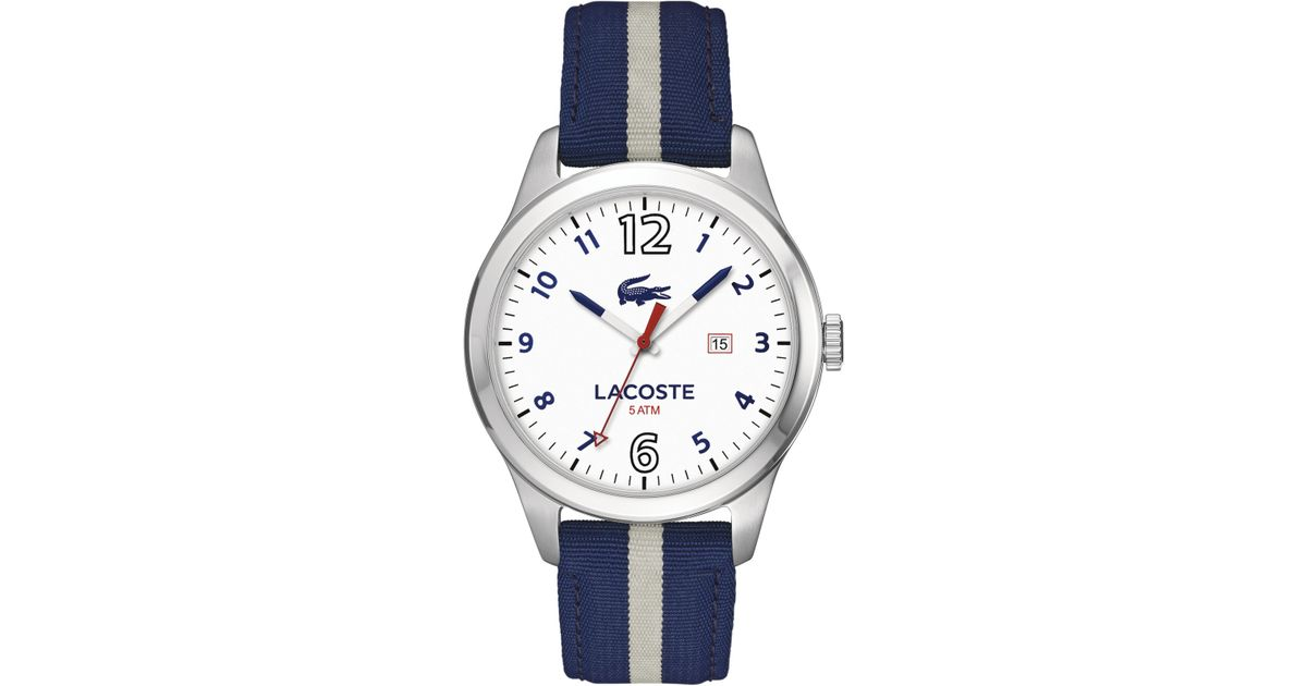 Lyst - Lacoste Men's Auckland Blue And Grey Nylon Strap Watch 44mm 2010722 in Blue for Men