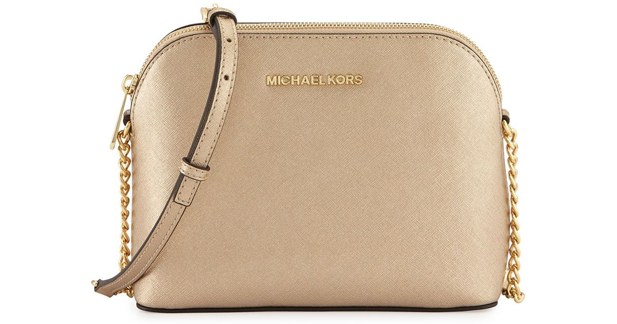 32ea1bde94bf ... shopping lyst michael michael kors cindy large dome leather cross body  bag in metallic a64bc 5936a ...