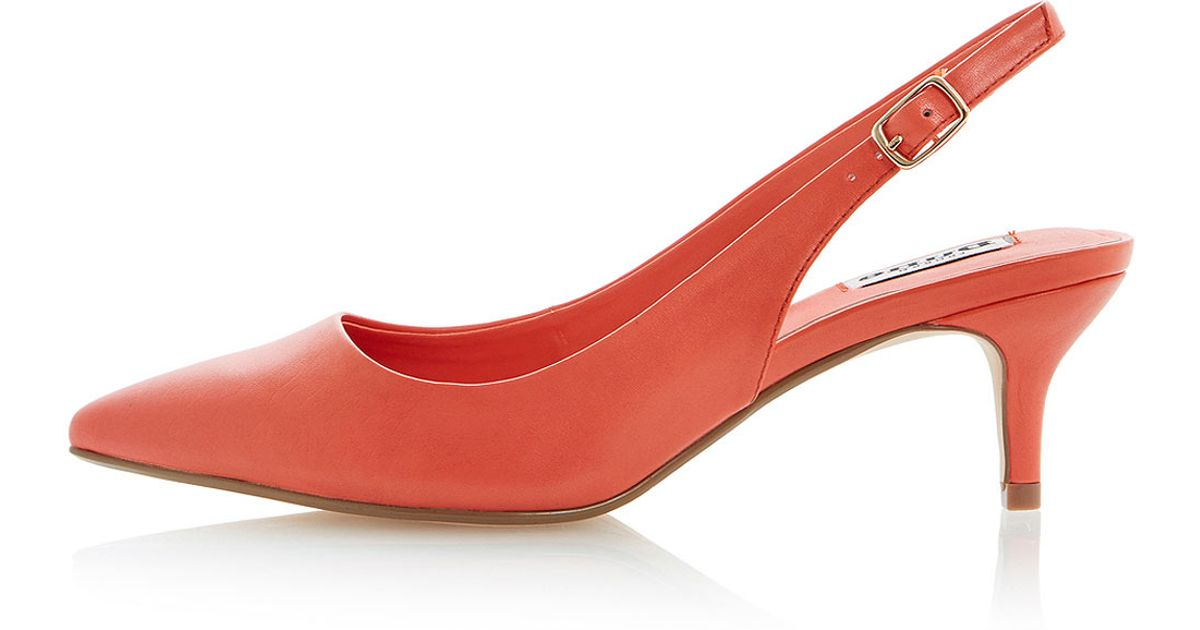 9ba311ab042 TOPSHOP Cathryn Kitten Heel Slingback Court Shoes By Dune in Orange - Lyst