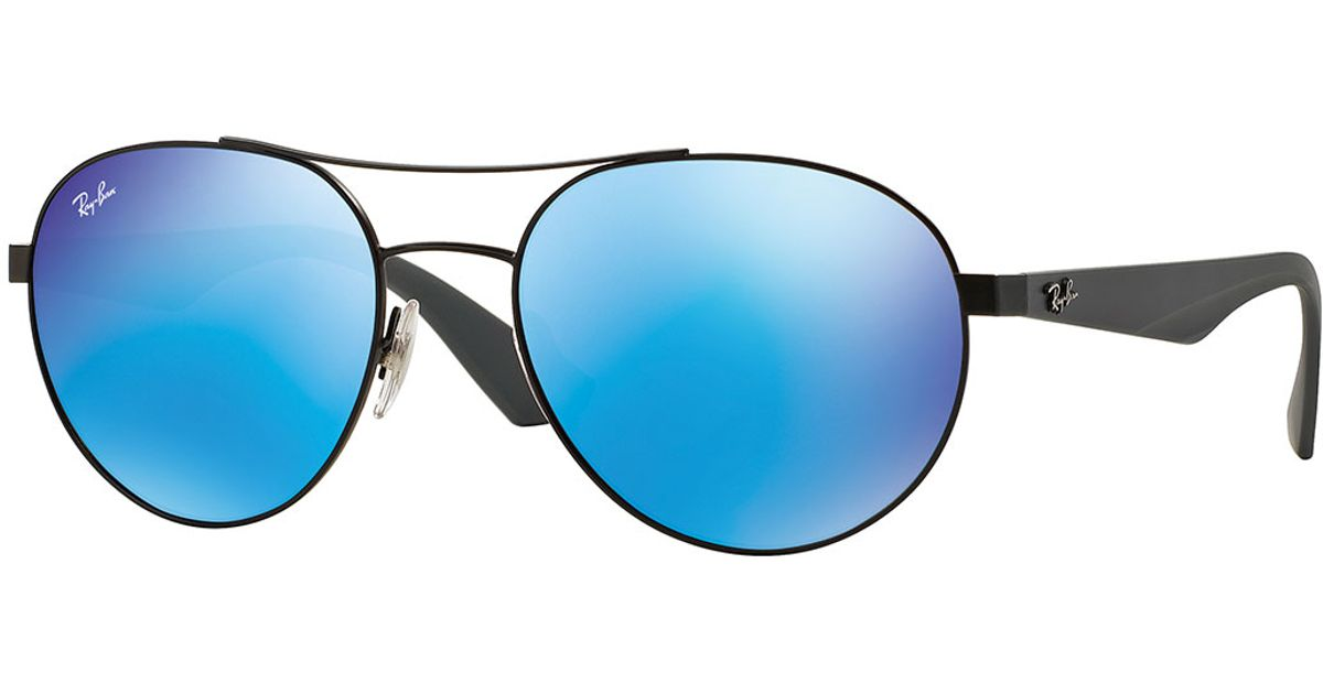 Ray-Ban RB Aviator Flash Lenses reinvented the standards of the market with its unique teardrop shape and flash lens combination. Wear this Aviator style in a variety of colors such as brown mirror gold, green mirror silver, brown mirror pink and crystal green mirror, to ensure you never go unnoticed.