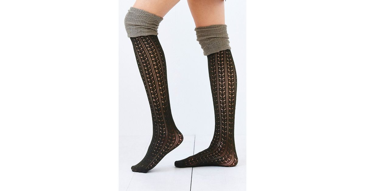 13e424b88 Urban Outfitters Tonal Scrunch Over-The-Knee Sock in Green - Lyst