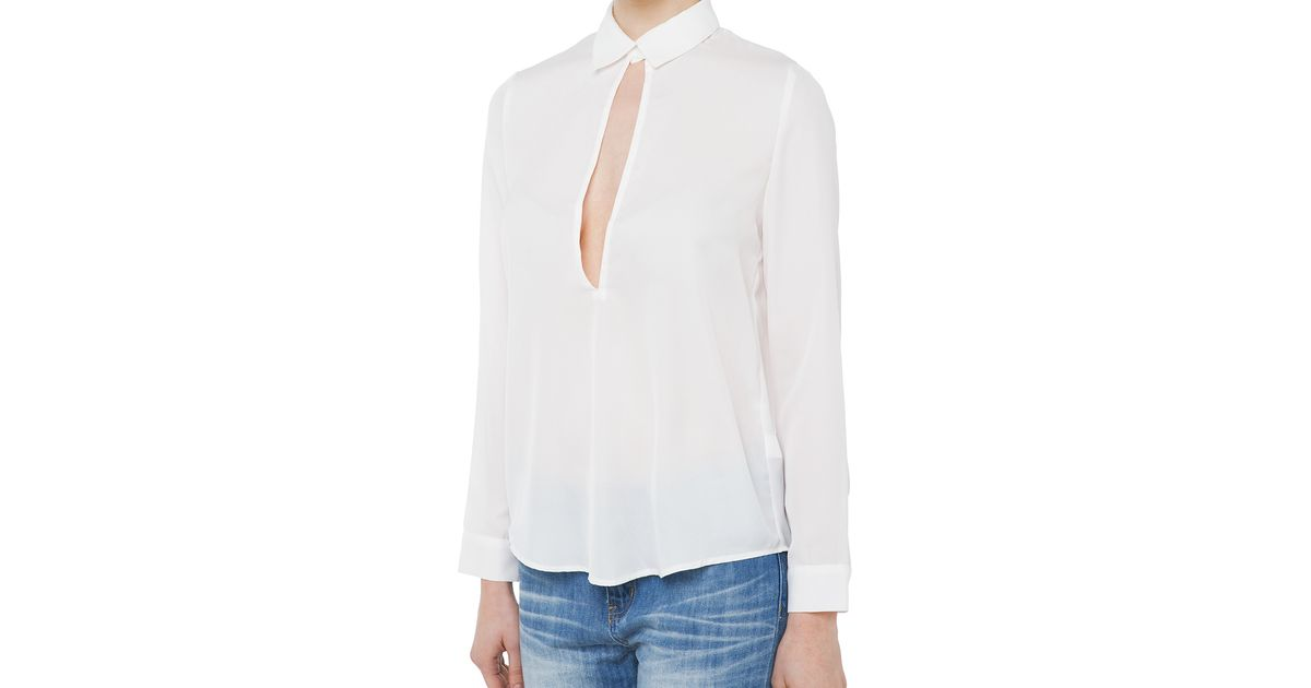 78ad7f5d1d657a AKIRA All Figured Out White Keyhole Blouse in White - Lyst