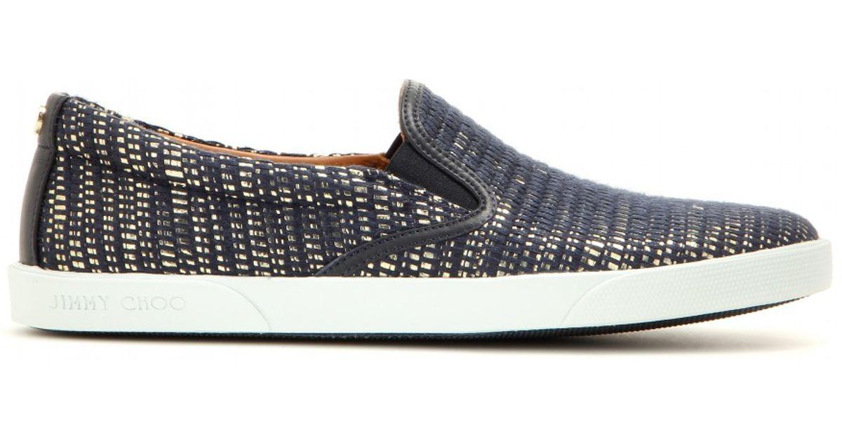 d8facf2db87 Lyst - Jimmy Choo Demi Metallic Slip-on Sneakers in Blue