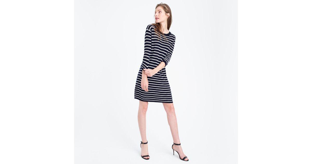 35b2c5d775e J.Crew Merino Striped Sweater-dress in Blue - Lyst