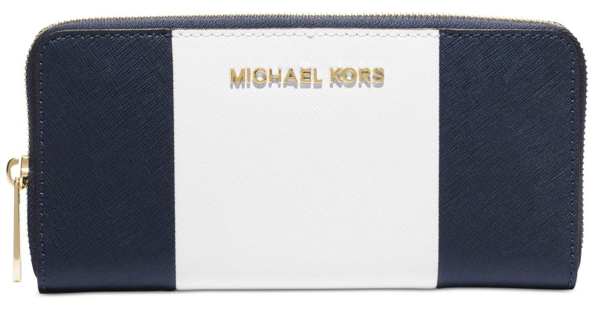 f20619dd8d54d2 Michael Kors Michael Jet Set Travel Center Stripe Zip Around Continental  Wallet in Blue - Lyst