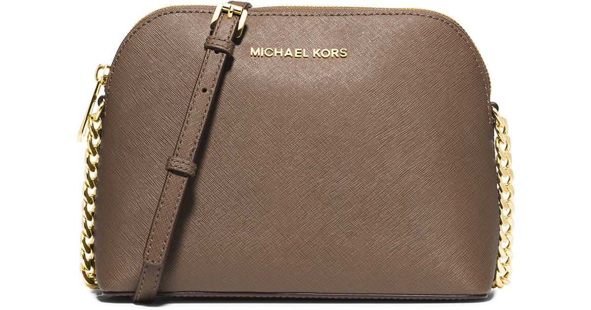 4f2288c916e62 Lyst - MICHAEL Michael Kors Cindy Large Dome Crossbody Bag in Natural