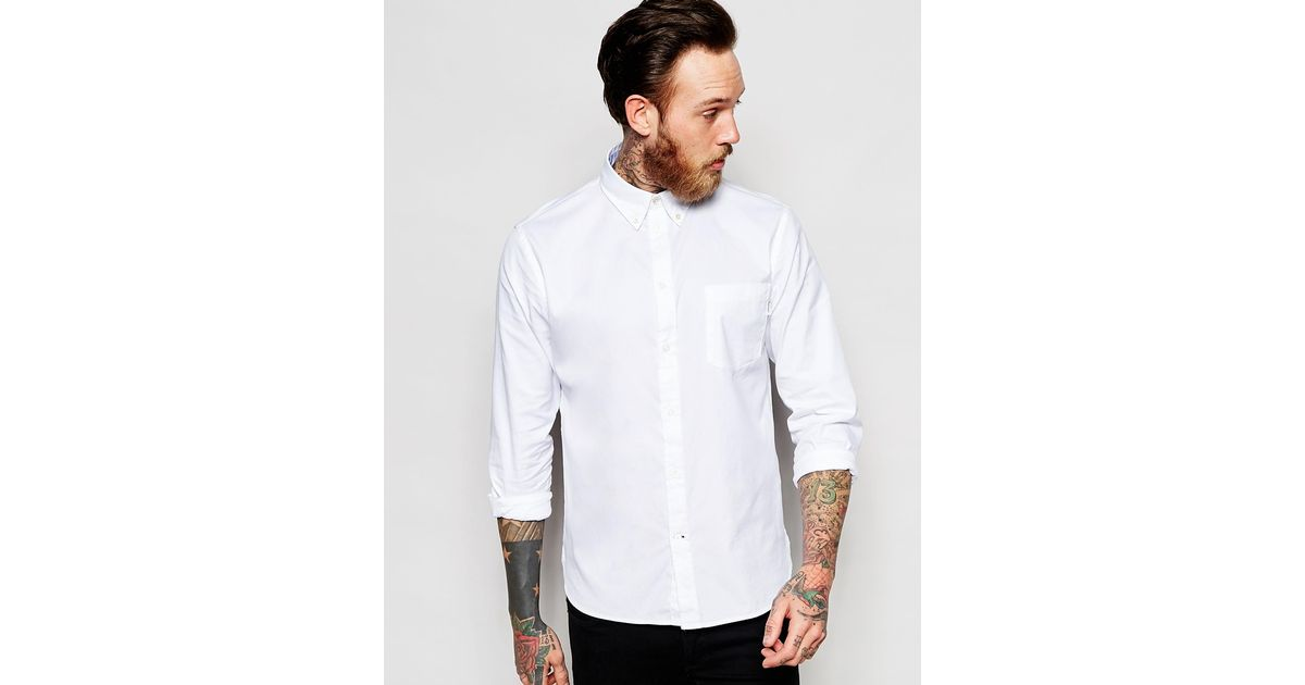 Paul Smith Oxford Shirt In Tailored Slim Fit In White For