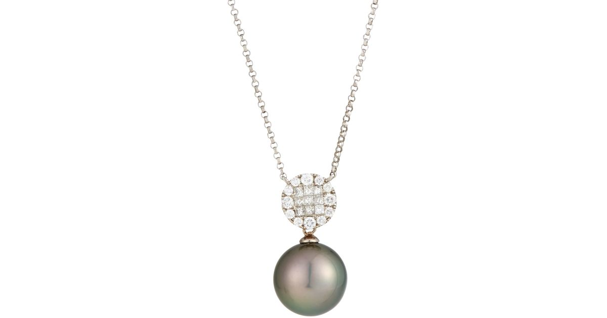 Lyst belpearl tahitian black pearl diamond pendant necklace in black aloadofball Gallery
