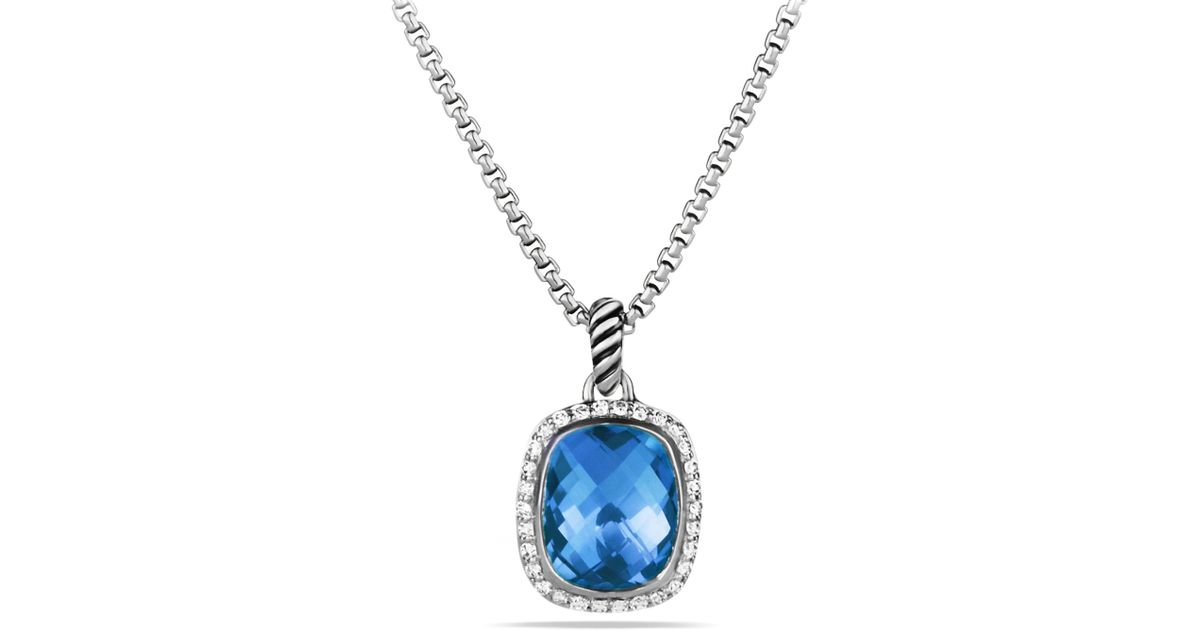 Lyst david yurman noblesse pendant with blue topaz and diamonds on lyst david yurman noblesse pendant with blue topaz and diamonds on chain in metallic aloadofball Images