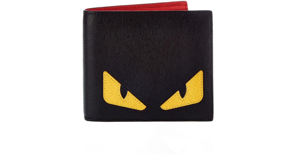 2027a515ae Lyst - Fendi Bag Bugs Leather Bi-fold Wallet in Black for Men