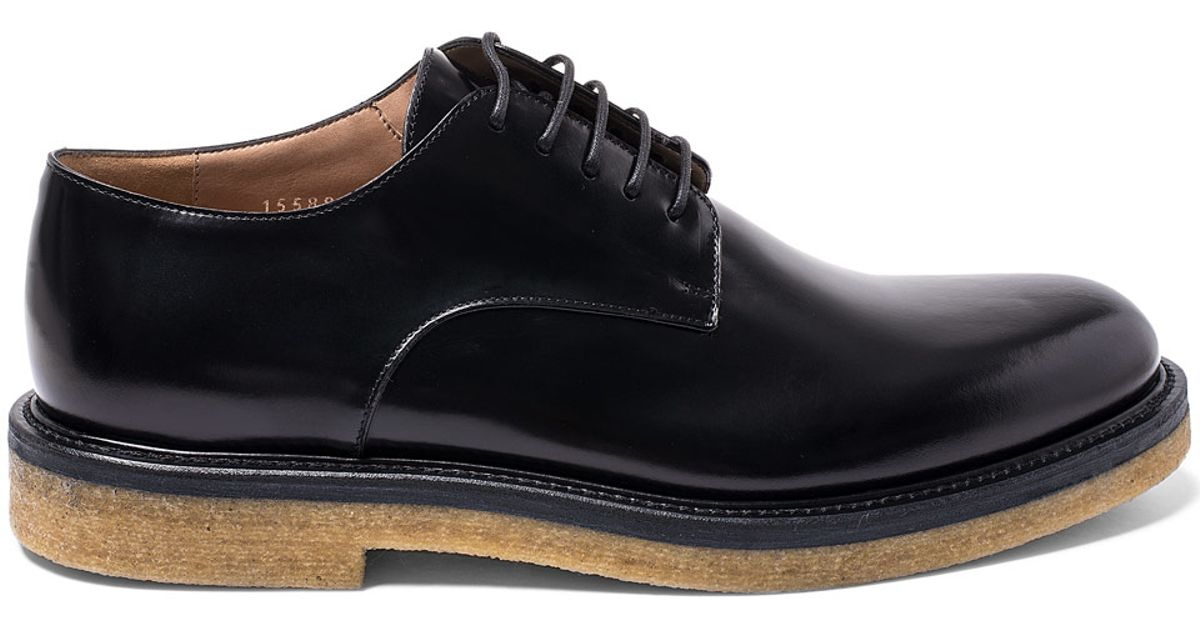 76598d30e0 Lyst - Dries Van Noten Black Crepe Sole Leather Derby Shoes in Black for Men