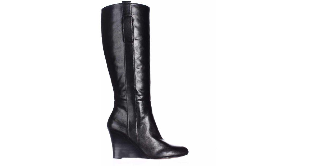 eb153277fc43 Lyst - Nine West Oran Wide Calf Wedge Knee-high Boots in Black